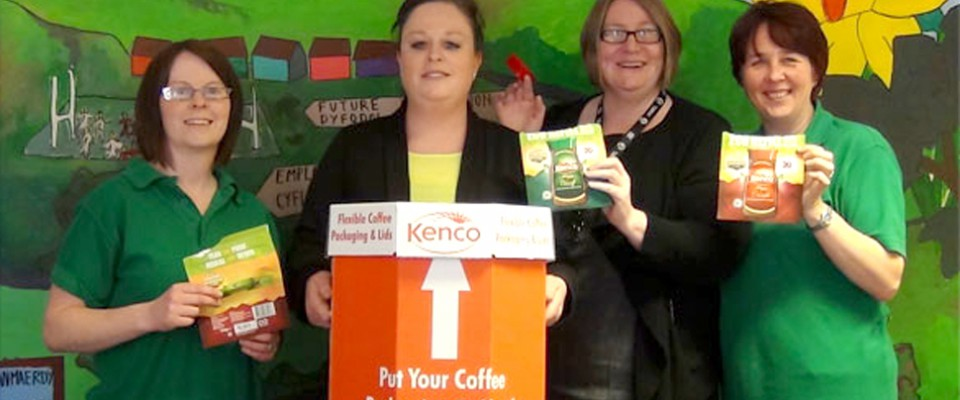 Photograph of staff promoting Kenco coffee project