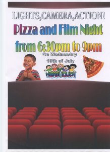 Pizza and film night poster
