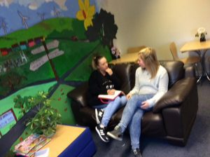 Girls having a chat at Maerdy Youth Group