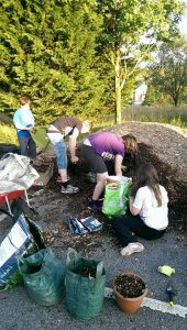 maerdy youth helping to create the sensory garden
